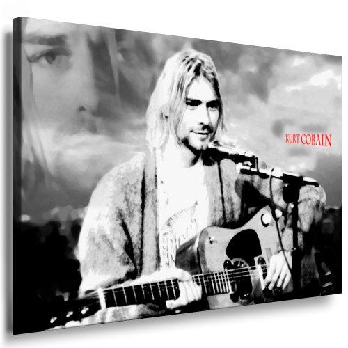 Kurt Cobain - Nirvana Leinwand Bild 100x70cm k. Poster ! Bild fertig auf Keilrahmen ! Pop Art Gemälde Kunstdrucke, Wandbilder - Bilder zur Dekoration Deko. Musik Stars Kunstdrucke