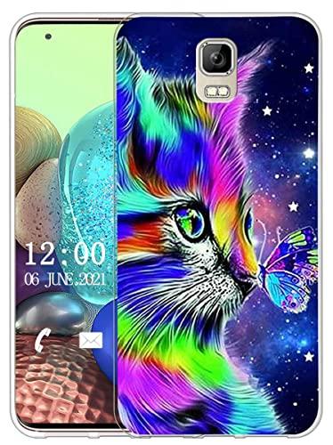 Sunrive Kompatibel mit UMI Rome/Rome X Hülle Silikon, Transparent Handyhülle Schutzhülle Etui Hülle (X Katze 1)+Gratis Universal Eingabestift MEHRWEG