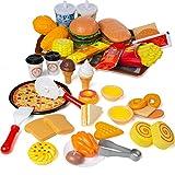 Czemo 56 Pezzi Giocattoli Alimentari, Giocattolo Cibi Pizza Accessori Cucina Finti, Set Alimenti Gioco di Ruolo Educativo per Bambini