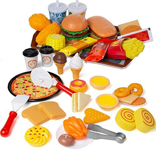 Czemo Juguetes de Comida Alimentos de Juguete para niños burguer Pizza Juguete Adecuado para niños y niñas Mayores de Tres años.