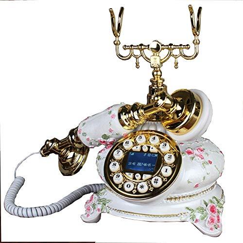 FHISD Teléfono Antiguo, Teléfono Antiguo Retro Vintage Teléfono Fijo con Cable para el hogar con Cuerpo de Metal y Timbre de Metal clásico, Teléfonos Decorativos Vintage Teléfono Fijo, Latón