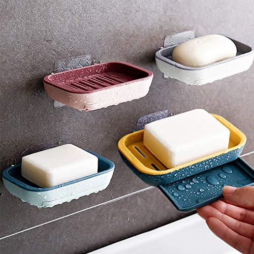 4 Stück Seifenschale Behälter Reise-Halter abnehmbar und wiederverwendbar, selbstklebende Wand-Seifenschale für Badezimmer Dusche Seifenablage Brasket Wandmontage, rostfrei, kein Nagel kein Bohren