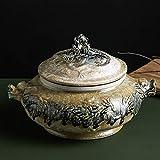 Cazuela de arcilla Olla de arcilla con tapa Olla caliente japonesa resistente al calor Cazuela redonda de cerámica Olla de arroz de arcilla Olla para sopa Ollas para estofado Alt.15.8x20cm (6x8in)