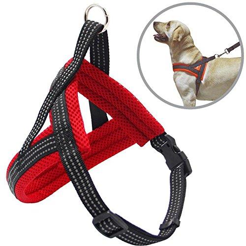 BPS Arnés Correa para Perros Mascotas Collar Ajustable 4 Tamaños Colores para Elegir para Perro Pequeño Mediano y Grande (M, Rojo) BPS-3882R