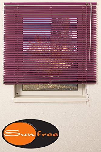 Sunfree Jalousie/Jalousien innen/Alujalousie Brombeere/Alu Jalousie Brombeere - Hier in Breite 120cm x 150cm Höhe in Farbe Brombeere