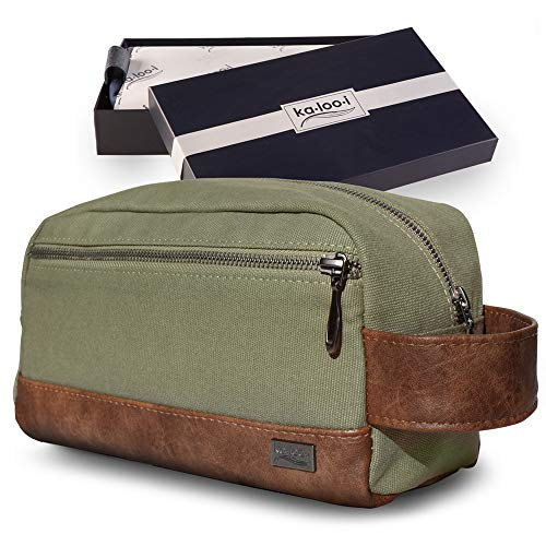 Toiletry Bag for Men - Canvas Dopp Kit for Travel, Gym, Grooming & Shaving, Waterproof Lining, 10' x...