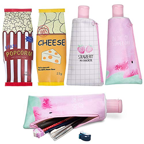 4 Pezzi Astuccio A Forma Di dentifricio, MOOKLIN Astuccio carino in poliuretano con cerniera, sacchetto della penna della cassa di matita, per Ragazze, ufficio e scuola (4 stile diverso)