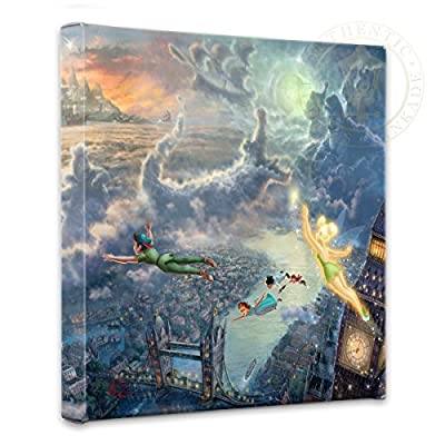 """Thomas Kinkade - Gallery Wrapped Canvas , Tinker Bell and Peter Pan Fly to Neverland , 14"""" x 14"""" , 51152"""