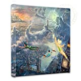 peter pan art - Thomas Kinkade - Gallery Wrapped Canvas , Tinker Bell and Peter Pan Fly to Neverland , 14
