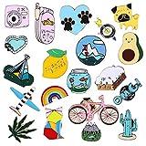 Tanersoned 20 Piezas Lindo Cartoon Pin Set, DIY Broche Pins para Ropa Bolsas Mochilas Sombreros Jeans Chaqueta