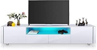 TV Stand Cabinet Entertainment Unit Wood Storage Shelf High Gloss Front with RGB LED Light 2 Drawers & 2 Doors White 205cm