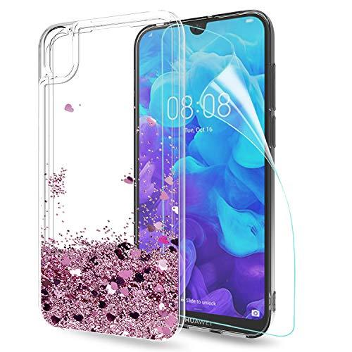 LeYi Custodia Huawei Y5 2019 Glitter Cover con HD Pellicola,Brillantini Silicone Liquido Sabbie Mobili Bumper TPU Case per Custodie Huawei Y5 2019 / Honor 8S Donna ZX Rosa Rose Gold