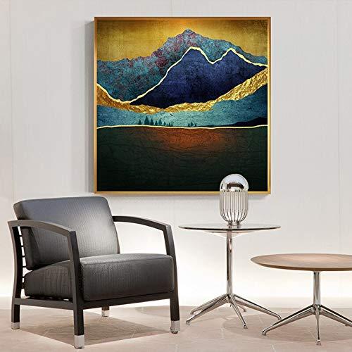 Handaxian Pintura de Lienzo Abstracta Amanecer Noche de Luna en la montaña Cartel de Naturaleza increíble Sala de Estar Arte de Estilo nórdico 80x80cm sin Marco