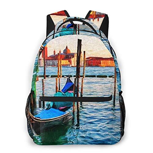 Rucksack Männer Und Damen, Laptop Rucksäcke für 14 Zoll Notebook, Boote Venedig Italien Sonnenuntergang 35 Kinderrucksack Schulrucksack Daypack für Herren Frauen