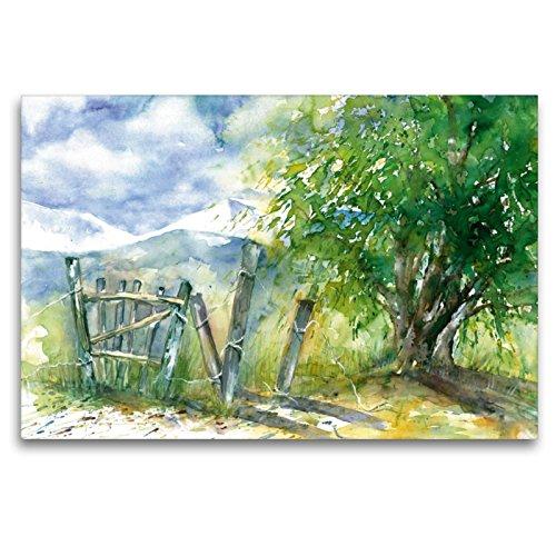 CALVENDO Premium Textil-Leinwand 120 x 80 cm Quer-Format Baum und Zaun, Leinwanddruck von Jitka Krause