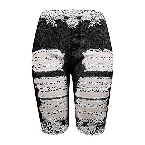 Fake-Jeans-Shorts In ÜBergröße Für Damen Knielange Yoga-Shorts Mit Schmetterlings-Print High Waist Workout Tummy Kurze Bikerhose (M,Schwarz 2)