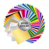 Wishesther 60 Hojas Vinilo Adhesivo 30 x 30cm 40 Colores Láminas de Vinilo Manualidades para Impresion y Corte Plotter Cricut Silhouette Cameo