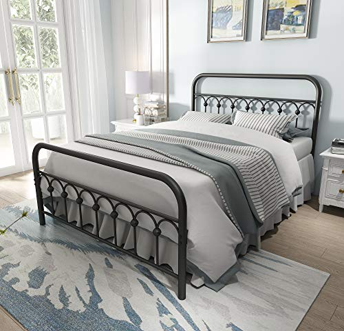 Vintage Sturdy Full Size Metal Bed Frame with Headboard and Footboard Basic Bed Frame No Box Spring Needed,Black