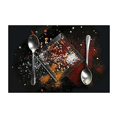 YALUO Cocina temática Fondo Negro Especia y Cuchara en Mesa Pinturas de lienzos Ingredientes Lienzo Arte impresión para la decoración del hogar (Color : DM1077, Size (Inch) : 20X30cm Unframed)