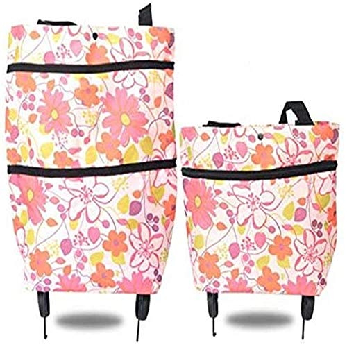 DDCDQ- 2 In 1 Foldable Shopping Cart With Wheels, Outdoor Foldable Trolley, Reusable Shopping Bag, Large-Capacity Family Bag, Shopping, Picnic, Multifunctional Portable Storage Bag For The Elderly