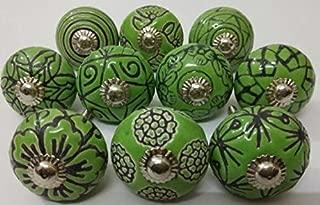Vintage Look 10 Ceramic Knobs Zoya's Hand Carved Ceramic Knobs Handmade Ceramic Door Knobs Kitchen Cabinet Drawer Pulls Kid's Badroom Knobs by Zoya's (Green)