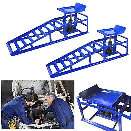 LZQ 2 Stück Auto PKW Auffahrrampen Laderampe Set mit hydraulischem Hebeplattform Wagenheber bis 245er Reifen 2000 kg