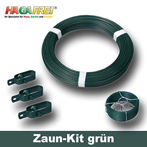 Zaun-Kit grün mit Ø 3,1mm Spanndraht für 15m Maschendrahtzaun mit vorhandenen Pfosten