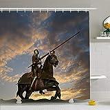 N / A Ahawoso Duschvorhang Set mit Haken Mittelalterlicher Ritter zu Pferd gegen Wolken Lance Joust People Mittelpferd Rüstung Vintage Sunrise Wasserdichtes Polyestergewebe Bad Dekor für Badezimmer
