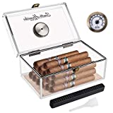 Scotte Acrylic Cigar Humidor Jar/case/Box with Humidifier and Hygrometer,humidor That can Hold About 20 Cigars (Clear-1)