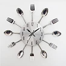 Metal Spoon Fork Kitchen Wall Clock