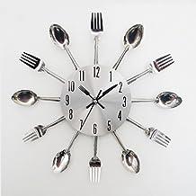 SKEIDO Metal Spoon Fork Kitchen Wall Clock