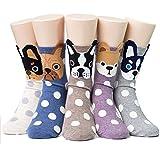 Women's Cute Dog Printed Cotton Crew Socks Ankle Animal Funny Boston Terrier Socks for Ladies