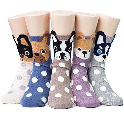 LOFIR Calcetines Divertidos de Algodón para Mujer Calcetines con Dibujos de Animal Perro Gato, Calcetines Vistosos, Calcetines Navidad para Mujer, talla 35-41, 5 pares