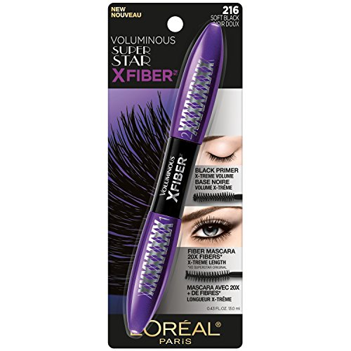 L'Oreal Paris Makeup Voluminous X Fiber Mascara with Black Primer, 1 Tube