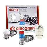 Giacomini - R470A Kit riqualificazione energetica radiatore 3/8, con valvola detentore e testa termostatica - R470AX002