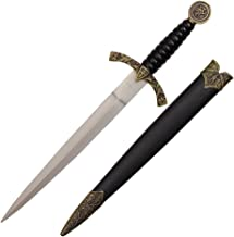 14 inch medieval designed dagger with knight and horse on handle and black scabbard with dusty gold finish H-5928