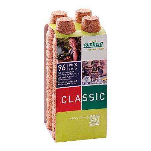 96x Macetas redondas de fibra de coco biodegradable Romberg Classic Pots (6cm)