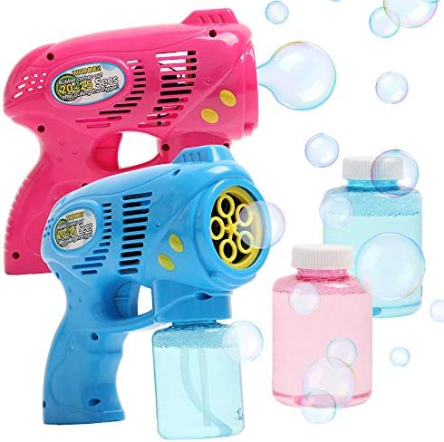 OleOletOy 2 Bubble Guns with 2 Bubble Solution Refill 5 oz Each Bubble Maker Blower for Kids product image