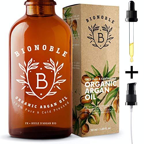 BIONOBLE BIO ARGANÖL 100% Rein, Natürlich, Kaltgepresst & Vegan   Glaspipette und Pumpe, Recycelbare Glasflasche   Argan Öl für Haare, Haut, Gesicht, Körper & Nägel   Argan Oil of Morocco (50ml)