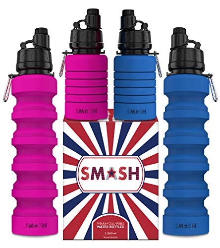 Smash Premium Collapsible Water Bottle - 2 PACK - for Travel, Hiking, Cruise, Gym, Cycling, Sports & More - Foldable Dishwasher Safe BPA Free Silicone - Blue & Pink