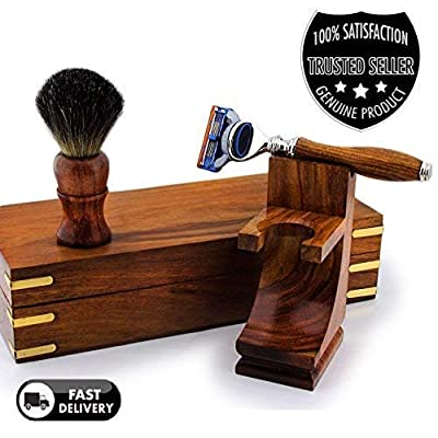 Pure Rosewood Men's Luxury Shaving Set with Gillette Fusion Razor, Badger Brush, Double Stand & Box