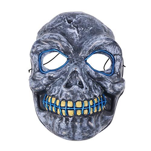 Artibetter Máscara de esqueleto de Halloween com caveira assustadora LED máscara brilhante para festa de festival sem bateria, azul
