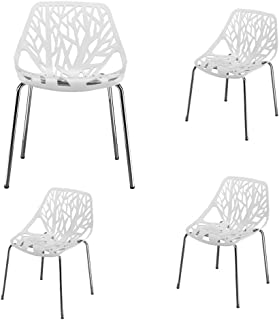 4pcs Modern Bird's Nest Style Lounge Chair Patio Dining Side Chair Stackable Birch Sapling Accent Armless Side Chairs (White)