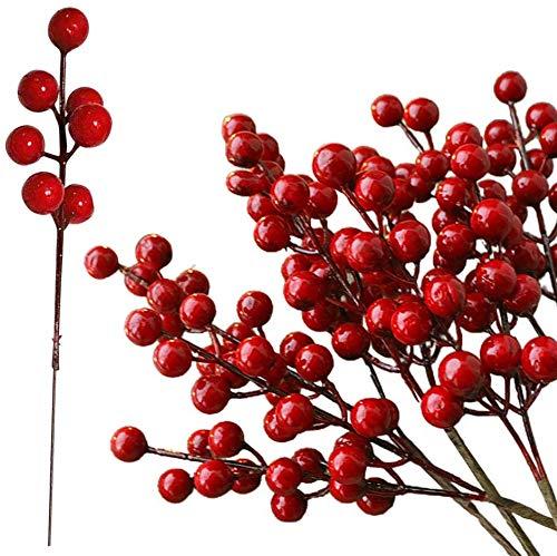 Qiwenr 20Pcs Artificiali di Agrifoglio Bacche di Frutta Finte Bacche Rosse Natalizie Artificiali Mini Bacche Rosse di Natale,per Decorazioni per Albero di Natale Ghirlanda di Fiori Fai da Te