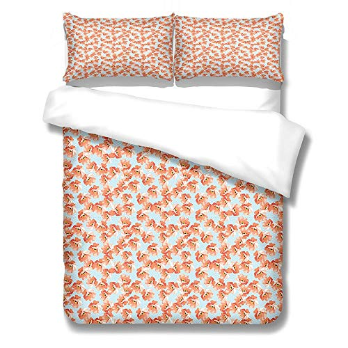 zzqxx Kids Duvet Cover Tulip flower Print Double Duvet Quilt Cover 78.7 x 78.7 inchs Bedding Set Hypoallergenic Polyester Zippered Revrsible with 2 Pillowcases Ultra Soft