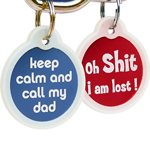 GoTags Funny Dog and Cat Tags Personalized with 4 Lines of Custom Engraved Text, Dog and Cat Collar ID Tags Come with Glow in The Dark Silencer to Protect Tag and Engraving, (Oh Shit)
