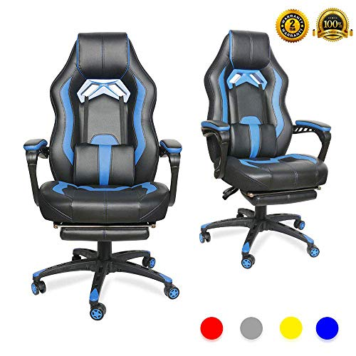 LUCKWIND Video Gaming Chair Racing Recliner - Ergonomic Adjustable Padded Armrest Swivel High Back Footrest with Headrest Lumbar Support Leather Breathable Bucket Seat Home Office Desk (Black & Blue) blue chair gaming