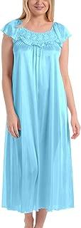 Women's Satin Silk Ruffle Long Nightgown
