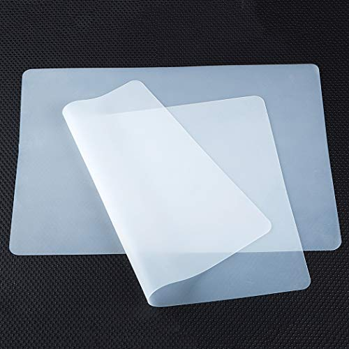 Silicone Placemats for Crafts, Non-slip Heat Resistant, Reusable Silicone Kids Mat for Refrigerator Drawers, Jewelry, Casting, Epoxy Resin, Glitter Slime, DIY Sheet, Pastry Dough Pad (2/Pack) Clear
