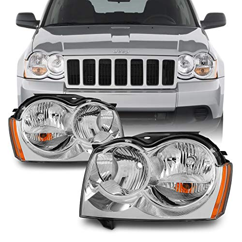AKKON - For Jeep Grand Cherokee Replacement Headlights Driver/Passenger Chrome Head Lamps Pair New